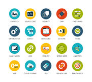 Round icons thin flat design, modern line stroke Stock Image
