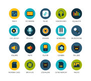 Round icons thin flat design, modern line stroke. Style, web and mobile design element, objects and vector illustration icons set 11 - audio and photo stock illustration