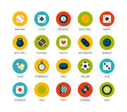 Round icons thin flat design, modern line stroke. Style, web and mobile design element, objects and vector illustration icons set 12 - sport and game collection Royalty Free Stock Images