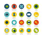 Round icons thin flat design, modern line stroke Stock Photography