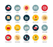 Round icons thin flat design, modern line stroke Stock Images