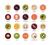 Round icons thin flat design, modern line stroke Stock Image