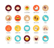 Round icons thin flat design, modern line stroke Royalty Free Stock Image