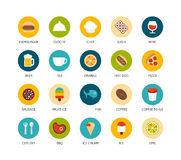 Round icons thin flat design, modern line stroke. Style, web and mobile design element, objects and vector illustration icons set 6 - food and drink collection Royalty Free Stock Images