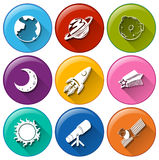 Round icons with things in the outerspace Stock Photos