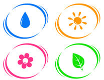 Round icons with water drop, sun, flower and green Royalty Free Stock Photos