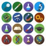 Round ikona naukowi narzędzia w płaskim projekcie Zdjęcie Stock