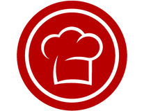 Round ikona z szefa kuchni kapeluszem Obrazy Royalty Free
