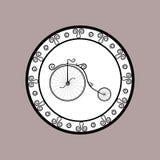 Round ikona z wizerunkiem rocznika stylu retro bicykl Zdjęcia Stock