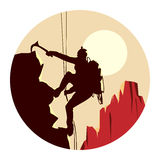 Round illustration of alpinists. Royalty Free Stock Photography