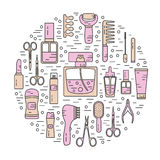 Round illustration of cosmetics Royalty Free Stock Photography