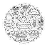 Round illustration of fast food. Vector modern line style icons concept of fast food, junk food. Tacos, popcorn, cheeseburger, hamburger, soda, donut, pizza Royalty Free Stock Image
