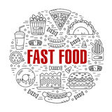 Round illustration of fast food Royalty Free Stock Photo