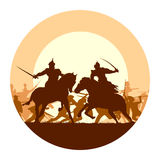 Round illustration of medieval battle with fight of two mounted. Abstract round logo of illustration fight between two warriors on background of battle at sunset Royalty Free Stock Photography