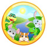 Illustration with Pets on the background of Sunny landscape, snake, chinchilla, hamster, turtle and rabbit on the background of g. Round illustration with Pets Royalty Free Stock Photo