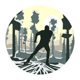 Round illustration of skier in forest. Stock Images