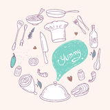 Round illustration with stylized food, hand lettering and scribble speach bubble. Doodle design elements. Culinary background Stock Photography