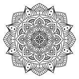 Round Indiański ornament, ręka Rysujący mandala/ Fotografia Royalty Free