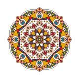 Round Indiański ornament, ręka Rysujący mandala/ Obraz Stock