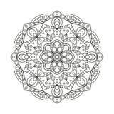 Round Indiański ornament, ręka Rysujący mandala/ Zdjęcia Royalty Free