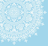 Round Indian white floral pattern Royalty Free Stock Images