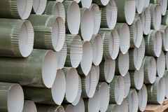 Round industrial plastic pipes for construction. Texture and background royalty free stock photos