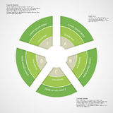 Round infographic consists of five green parts Royalty Free Stock Image