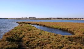 Round Inlet. In salt water marsh wet lands, Huntington Beach, California Royalty Free Stock Image