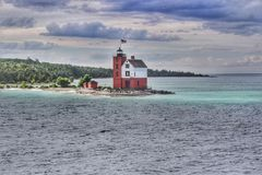 Round Island Light house, Michigan Royalty Free Stock Photography