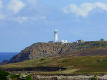 White lighthouse on top of cliffs Stock Photography