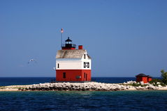 Round Island Lighthouse. On the Straits of Mackinac, Michigan Royalty Free Stock Photography