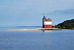 Round Island Lighthouse. A Lighthouse in the Straits of Mackinaw, Michigan Stock Images