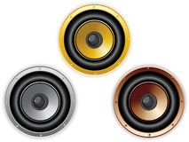 Round Isolated Sound Speaker. Set of 3 colors Royalty Free Stock Images