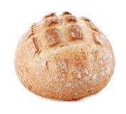 Round italian bread on white. Loaf of round italian sourdough bread Stock Image