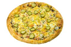 Round Italian pizza with ham, chicken, cucumbers and cheese stock photo