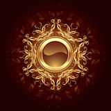 Round Jewelry banner. Round banner jewelry gold framed symmetrical pattern on a dark brown background Stock Images