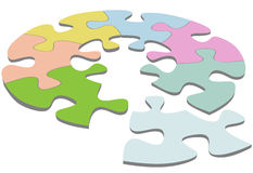 Round Jigsaw Puzzle 3D Circle Solution Royalty Free Stock Image