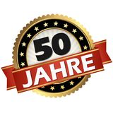 Jubilee button 50 years. Round jubilee button with red banner and german text 50 years royalty free illustration