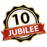 Jubilee button with banner 10 years. Round jubilee button with red banner for marketing use for 10 years stock illustration