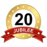Jubilee button with banner 20 years. Round jubilee button with red banner for marketing use for 20 years Stock Image