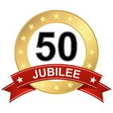 Jubilee button with banner 50 years. Round jubilee button with red banner for marketing use for 50 years royalty free illustration