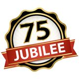 Jubilee button with banner 75 years. Round jubilee button with red banner for marketing use for 75 years vector illustration