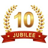 Jubilee button with banner 10 years. Round jubilee button with red banner for marketing use for 10 years vector illustration