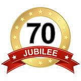 Jubilee button with banner 70 years. Round jubilee button with red banner for marketing use for 70 years royalty free illustration
