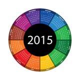 Round kalendarz dla 2015 rok Zdjęcie Stock
