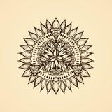 Round kaligraficzny emblemat Wektorowy kwiecisty symbol dla kawiarni Obrazy Royalty Free