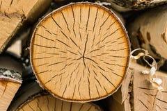 Round kawałek drewno w woodpile Fotografia Royalty Free