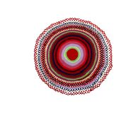 Round knitted rug stock photos