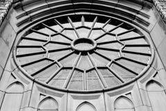 Round Kościelny okno - Piekarnianego pomnika Zlany kościół metodystów fotografia royalty free