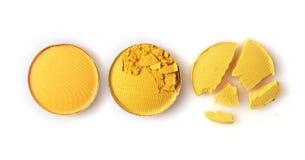 Round kolor żółty rozbijający eyeshadow dla uzupełniał jak próbka kosmetyczny produkt Obrazy Stock